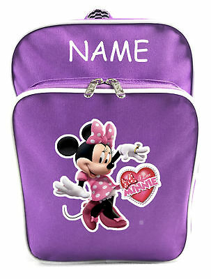 Littlies Kids Children Girls Purple Minnie Mouse School Backpack Bag With Name