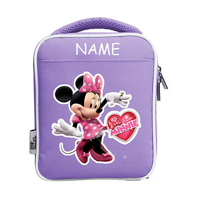Littlies Kids Children Girls Purple Minnie Mouse School Lunch Bag With Name