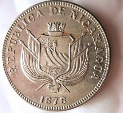 1878 NICARAGUA CENTAVO - Very Low Mintage AU - FREE SHIPPING - HV33