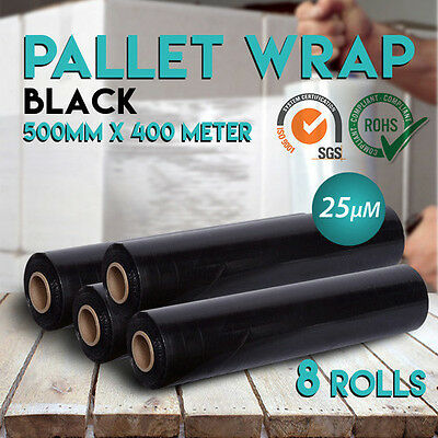 8 Rolls Shrink Stretch Wrap Black Hand Film for Pallet Carton 400meter 25um
