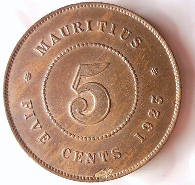 1923 MAURITIUS 5 CENTS - RARE - Very High Quality Coin - Free Shipping - HV33