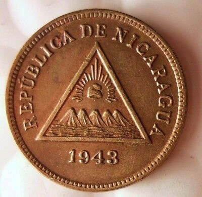 1943 NICARAGUA CENTAVO - BRONZE PATTERN - Extremely Rare - Free Shipping - HV33