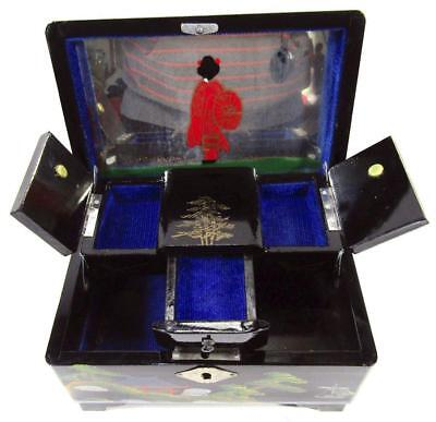 Musical Jewelry Box Vintage Japanese Wood Lacquer