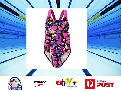 Girls NEW Swimsuit Swimming Costume Speedo Pink Space Multi-Colour Size 12