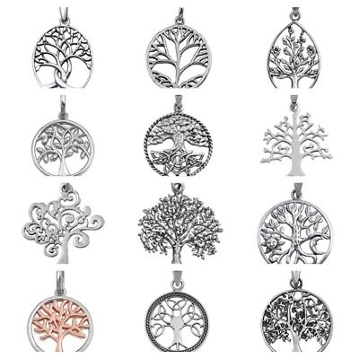 """925 Sterling Silver TREE OF LIFE & TRINITY TREE PENDANT WITH SNAKE .08 18"""" CHAIN"""