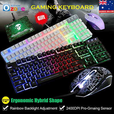 Ergonomic Wired Gaming Keyboard and Mouse Illuminated Backlit Set For PC Laptop