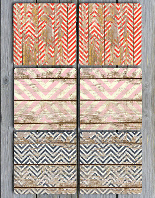 NEOPRENE Coasters Set of 6 Grungy Chevrons Distressed Wood Look