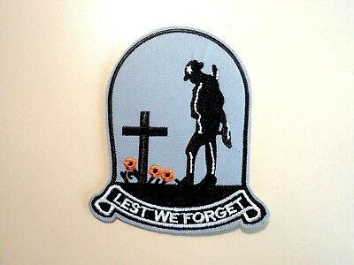 1x Lest We Forget Soldier Patches Embroidered Cloth Applique Badge Sew On ANZAC