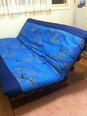 Futon Sofa Bed, sturdy, solid timber, attractive cover, very good condition