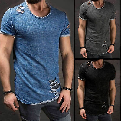 New Ripped Mens Casual T Shirt Slim Fit Muscle Top Short Sleeve Cotton Summer AU
