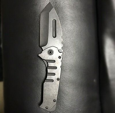 Heavy Stonewashed Praetorian Folding Pocket Knife Clone Camping Hunting EDC