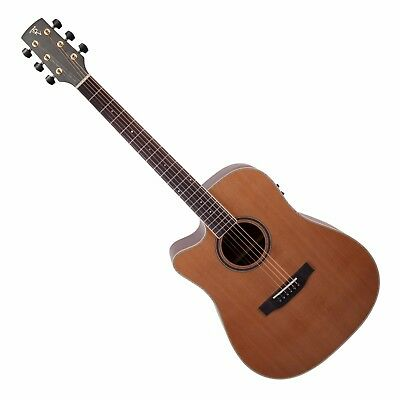 NEW Timberidge Left Handed Solid Cedar Top Acoustic-Electric Dreadnought Guitar
