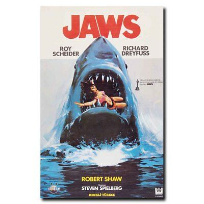 Jaws 24x15inch Classic Horror Old Movie Silk Poster Art Print Room Decoration
