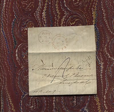 1838 Liverpool letter manuscript postmarks Victorian pre stamp cover writing