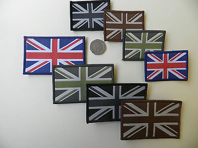 Union Jack 'hook' backed morale patch badge, 4 colour / 2 size options. New.