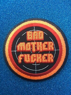Target Bad Mother Fucker Attitude Round Warning   Iron ON Sew Patch Clothing