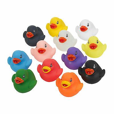 12 X Mini Bath Ducks Floating Multi Coloured Rubber Bath Toy Ducks Gift