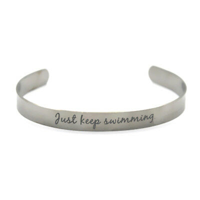 Just Keep Swimming stainless steel bangles bracelets adjustable silver tone cuff
