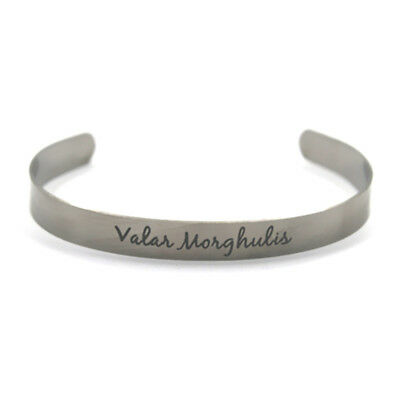 Game of Thrones Valar Morghulis stainless steel bangles adjustable silver tone