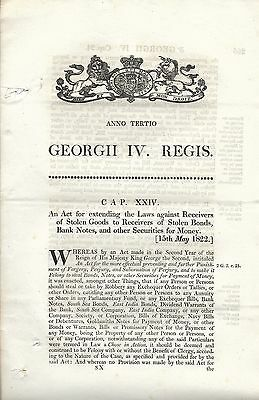 Act of George IV Re Laws on Stolen Goods 1822