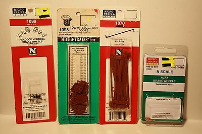 N Scale Micro-Trains Line Replacement Parts, Brake Wheels, Stock car Doors, Roof