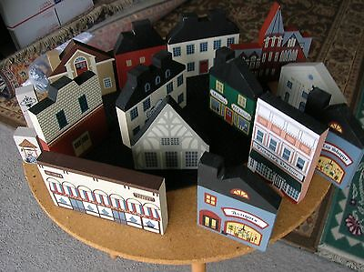 Vintage 1980's Lot Of Cats Meow Village Houses Buildings Signed Faline 14 Total