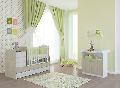 babyzimmer 3 teilig babybett wickelkommode kleiderschrank grau buche picclick de. Black Bedroom Furniture Sets. Home Design Ideas