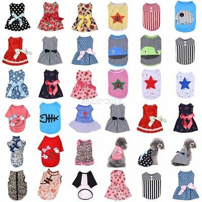 AU Multi-styles Summer Pet Dog Puppy Cat T-shirt Vest Bow Skirt Clothes Dresses