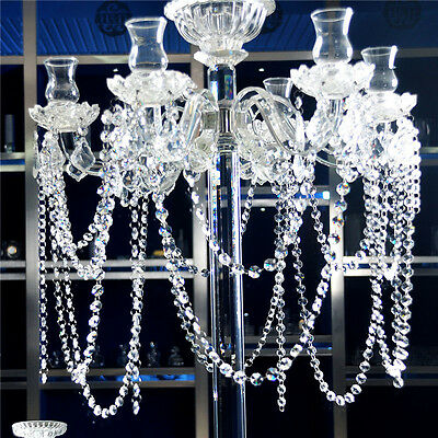 1m Clear Glass 14MM Octagonal Beads Crystal Chandelier Part Decorative Supplies.