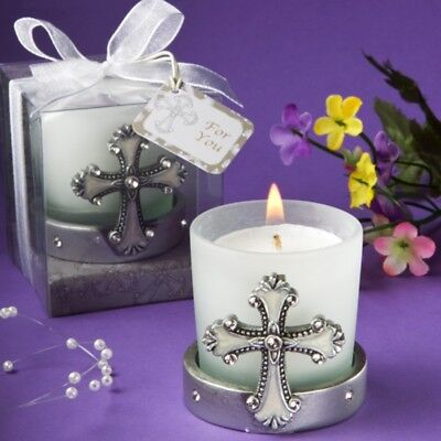 Regal Favor Collection Cross Themed Candle Holders - Baptism Christening