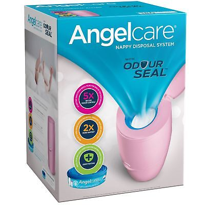 Angelcare Baby Nappy Disposal Bin System +1 Month Refill Cassette Bag Sack, Pink