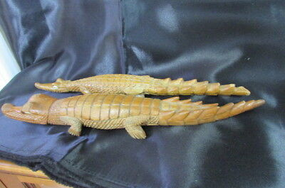 2 Papua New Guinea Hand Craved Wooden Crocodiles