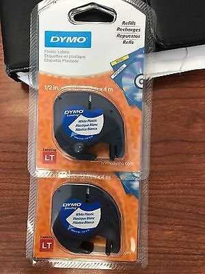 TWO  Dymo LetraTag WHITE Label Refill Tapes Letra Tag 1/2in x 13ft - 12mm x 4m