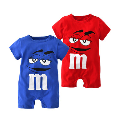 Brand New M&M's Cartoon Style Boys Girls Romper Babygrow Jumpsuit Baby Clothes