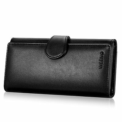 Black Womens Wallet Lady Genuine Leather Clutch Trifold Purse Holder Zip Card US