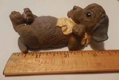 NEW 1993 Enesco BROWN PUPPY LAYING ON ITS BACK FIGURINE Dog Figure Kathy Wise