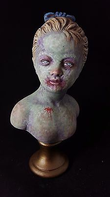 Zombie Bust OOAK Hand Painted