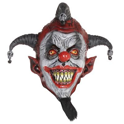 Adult Evil Psycho Jester Killer Clown Latex Head Face Mask Halloween Accessory