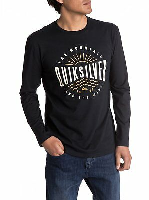 Quiksilver Mens Long Sleeved Top.new Mad Waves Black Cotton T Shirt 7W 4561 Kvjo