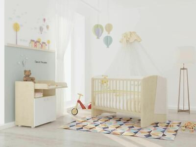 Polini Kids Kinderzimmer Simple Kinderbett mit Wickelkommode Ahorn