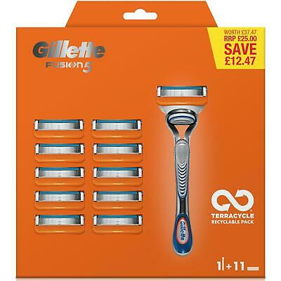 Gillette Fusion Men's Razor Blade + 11 Razors With 5-Precision Blades Bundle Kit
