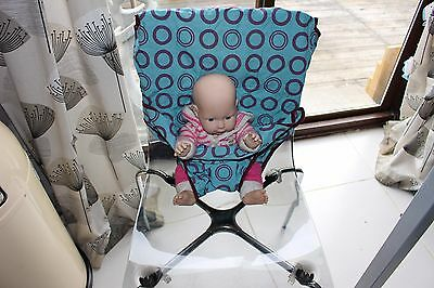 Totseat Washable Squashable Highchair Teal/Purple Circles New Without Tags