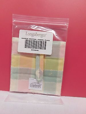 Longaberger Handle Gripper ~Pastel Plaid~  New In Package Made In U.s.a.