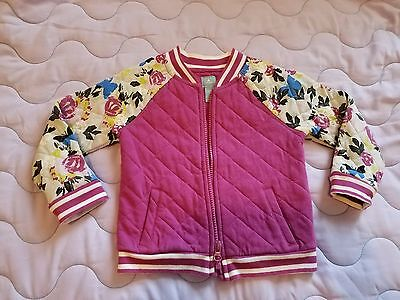 Baby Gap Girl Size 4 4T Floral & Stripe Quilted Bomber Jacket Coat Purple Blue
