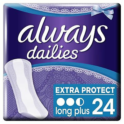 Always Dailies Panty Liners Long Plug Extra Protect Odour Neutralise Pack of 24