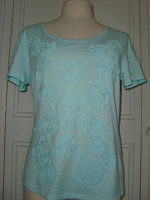 Pretty M&S green top with detail to front Size 14