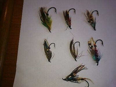 Fully dressed salmon flies x  7 nice hooks and feathers 1920,s, 30 6/0 to 1 1/2