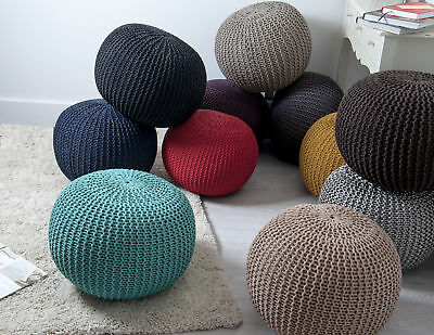 100 % Cotton Handmade Double Knitted Round Stool Braided Cushion Pouffe
