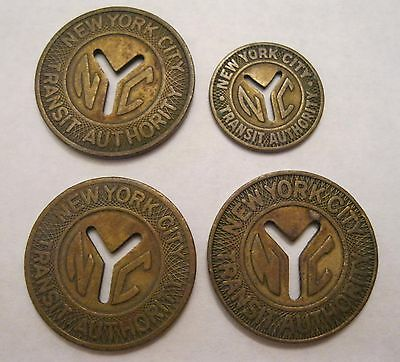 Vintage New York City Transit Authority Subway Tokens Cutout Y 3 Large 1 Small