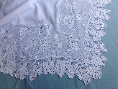 Antique vtg crochet lace tablecloth Mary Card butterfly and grape vine pattern